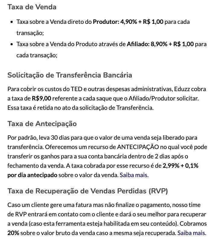 Taxas Eduzz